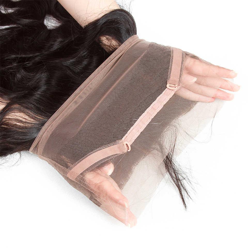 Shenlong Hair 360 кружева фронтальное закрытие перуанская волна тела 100% человеческие волосы закрытие натуральный цвет не Реми бесплатная доставка
