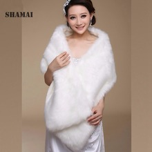 SHAMAI Women Winter Long Bridal Faux Fur Shawl Bridal Wraps Warm Faux Fur Wedding Wrap Boleros Wedding Shawl Evening Party