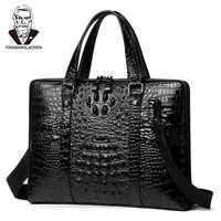 Высококачественная Мужская сумка из коровьей кожи, портфель, сумка через плечо, сумка мессенджер с крокодиловым узором, мужская деловая дор...