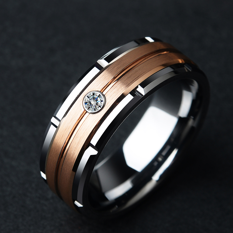 Mens 8mm Rose Gold Plating Brushed Finished with White CZ Stone 2