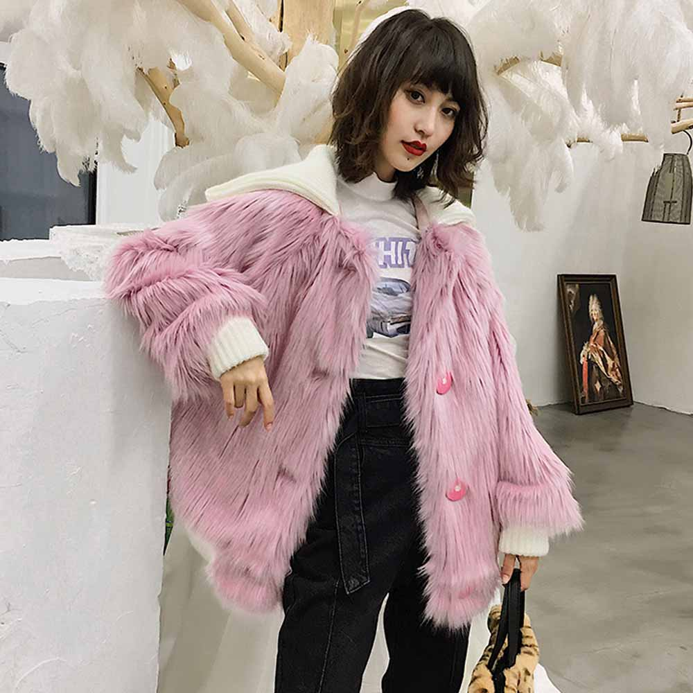 TXJRH Stylish Hairy Shaggy Faux Fox Fur Turn down Collar Single breasted Outwear Jacket Coat Baseball Bomber Tops 2 Colors
