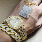 Karopel Men's Iced Out Hip Hop Gold CZ Watch & Full Iced Necklace & Bracelet Combo Set