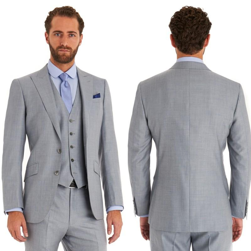 Light Grey Mens Suits Two Buttons 3 Pieces Wedding Suits for Men Groom Tuxedos Business Formal Suit (Jacket+Pants+vest+tie)