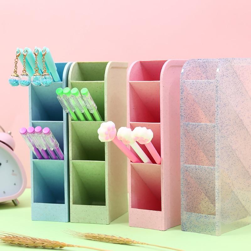 Glitter Colorful Pen Holders Kawaii Desk Storage Box Multifuctions Plastic Pencil Kids Student Desk Organizer
