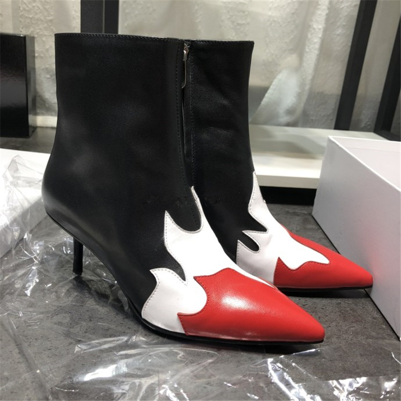 Genuine Leather Printed Flame Women Ankle Boots Fashion Mixed Color Pointed Toe Stiletto High Heels Pumps Party Wedding Shoes 40 women office shoes solid color fashion pointed toe stiletto high heels elastic band ankle strap slingback sandals pumps leather