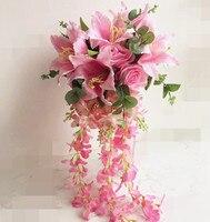 Rosa Cascada Híbrido Novia Ramo 60 cm largo Rosa Artificial Wisteria Vine Lily Ramo De La Boda para la boda centros de mesa