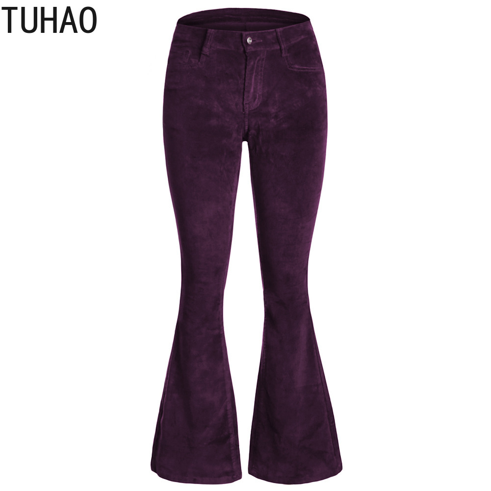 TUHAO 2019 Casual Loose   Wide     Leg     Pants   Women Spring Velvet   Pants   High Waist Elastic Solid Long Trousers for Office Lady DLM