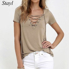 T shirts women 2017 summer women short sleeve shirts ladies tops tee shirts femme bandage V neck solid T-shirts for girls S-XL