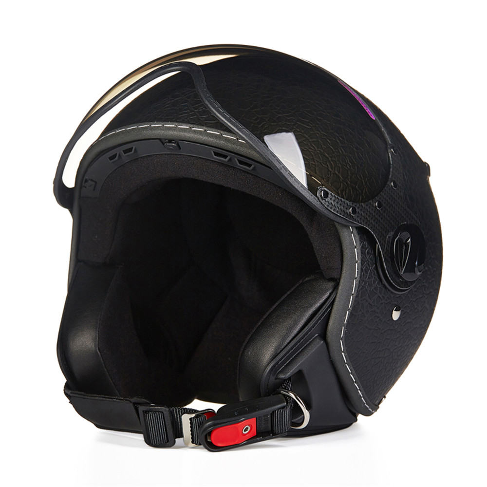 Leather Motorcycle Helmet Chopper Open Face Vintage Helmet 210c4 Moto Casque Casco motocicleta Capacete Pilot Men Women Helmets цена