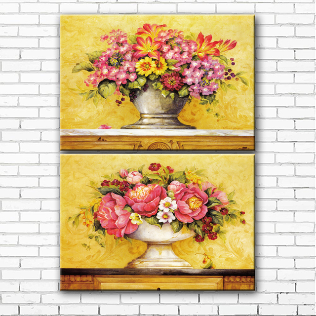 pastoral pink flowers pot scenery canvas printings oil painting ...