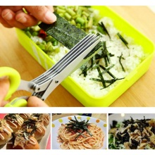 5 Layers Multi-functional Stainless Steel Kitchen Knives Shredded Scallion Cut Herb Spices Scissors Cooking Tools Accessories
