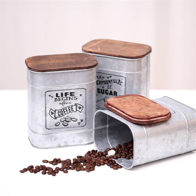 Retro Nostalgic Iron Box Wooden Cover Tea Coffee Sugar Storage Jars Vintage Candy Sundries Can