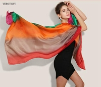 185cm 110cm 100 Fashion Designer Ladies Big Scarf Real Silk Long Printed Brand Shawl Style SILK