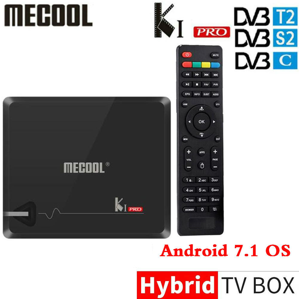 KI PRO Amlogic S905D Android 7.1 Hybrid TV Box DVB-T2/S2/C Quad Core 64 bit 2g 16g K1 PRO Set Top Box di Supporto cline NEWCAMD