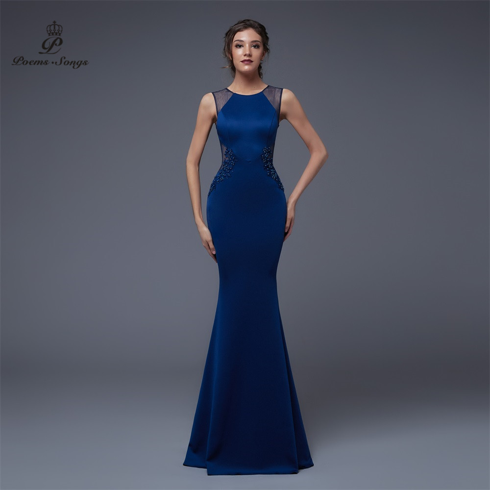 Poems Songs2019  Elegant Evening Slit Side Open Mermaid Prom Formal Party Dress Vestido De Festa Elegant Vintage Robe Longue