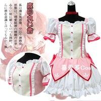 Anime Puella Magi Madoka Magica Kaname Madoka Cosplay Costume Pink Maid Battledress S XL For Halloween/Christams custom made Any