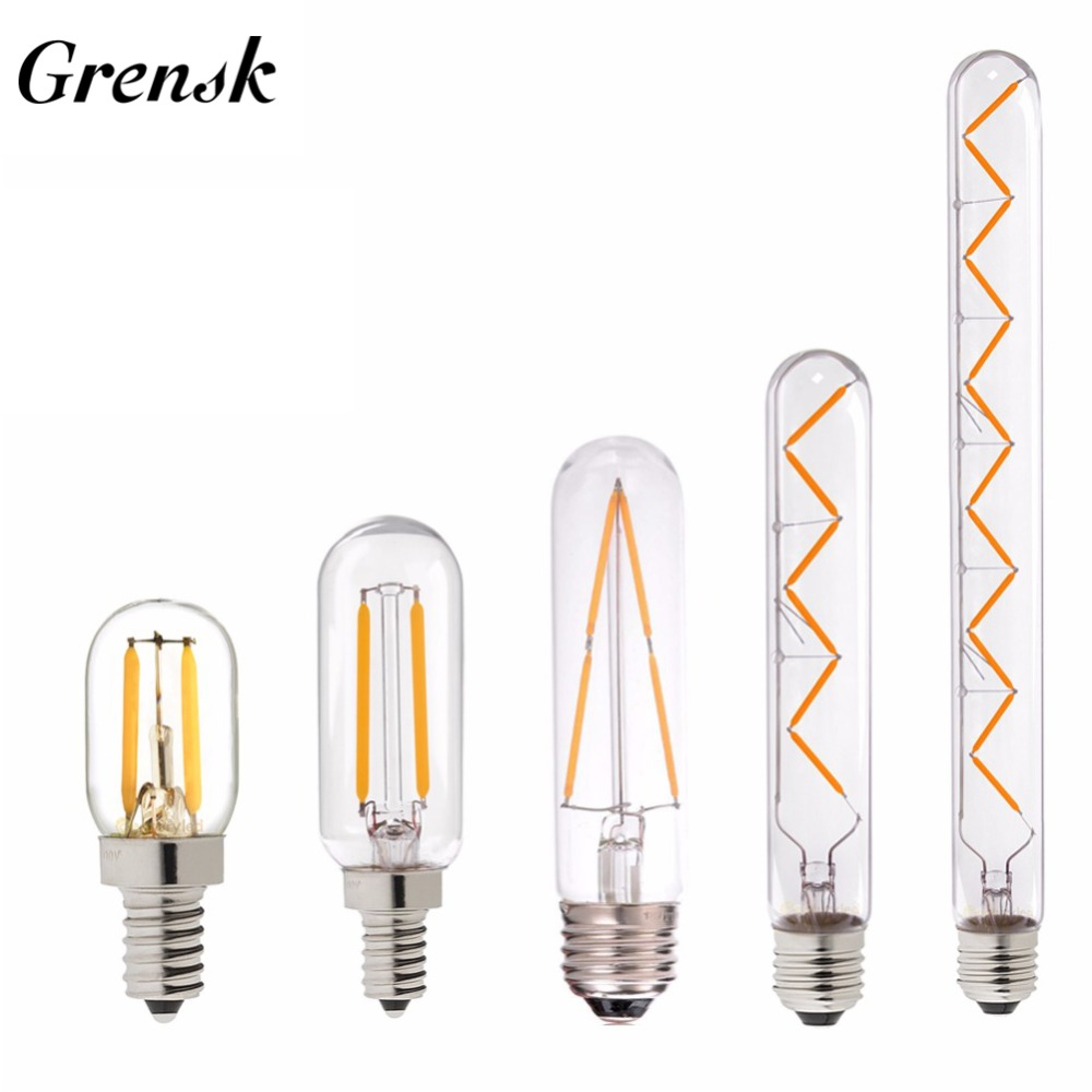 Grensk T30 E14 Bulb Led Dimmable Edison Led Bulb E27 Vintage Filament Bulb 110V 220V 1w 2w 3w 4w 6w Tubular Antique Lamp T20 T25 бра eurosvet 10005 1 античная бронза прозрачный хрусталь strotskis
