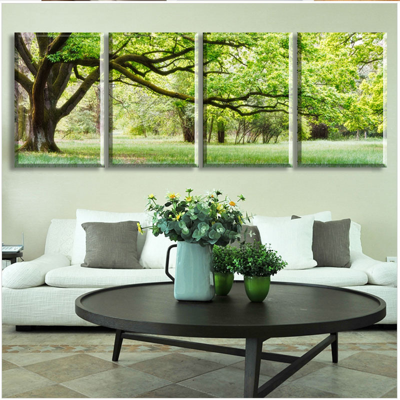 2015 New 4 piece abstract no frame printed canvas art tree canvas wall picture <font><b>decoration</b></font> <font><b>home</b></font> modern canvas oil art Prints