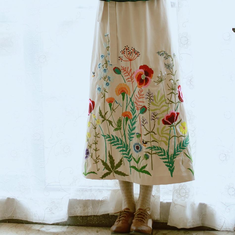 Fijn Lynette 's Chinoiserie Lente Herfst Originele Ontwerp Vrouwen Vintage Borduurwerk Bloemmotief Match Katoen Schort Rok