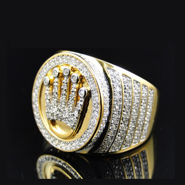 High Quality King 18k Gold Crown Ring Mens Hip Hop Bling Jewelry Pave Stone Bague