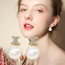 Fashion Brand Round White Pearl Earrings For Women Classic Rhinestone Stud Earring Vintage Party Jewelry For Gifts lucide 34432 01 30