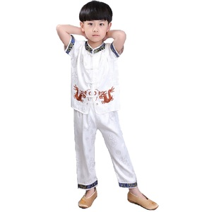 Image 2 - 中国の伝統的な子供のカンフースーツ唐服セット刺繍ドラゴン男の赤ちゃんカーディガンtシャツズボン新年のコスチューム