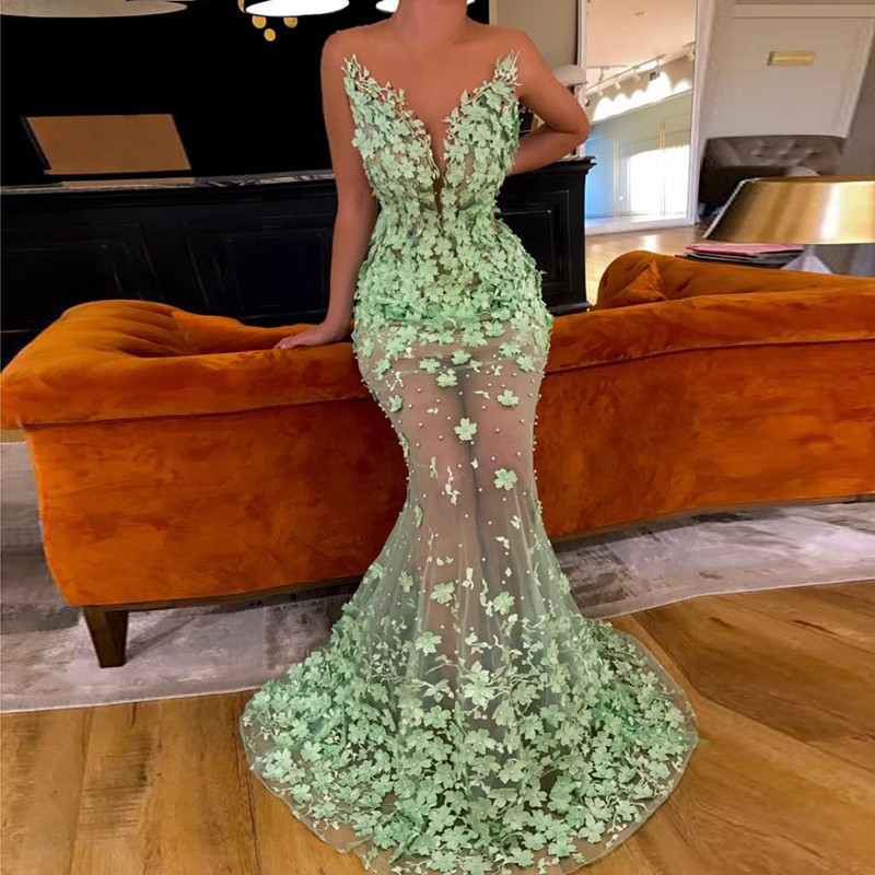 Mint Green Muslim Evening Dresses 2019 Mermaid Tulle Flower Pearls See Through Dubai Saudi Arabic Long Evening Gown Prom Dress