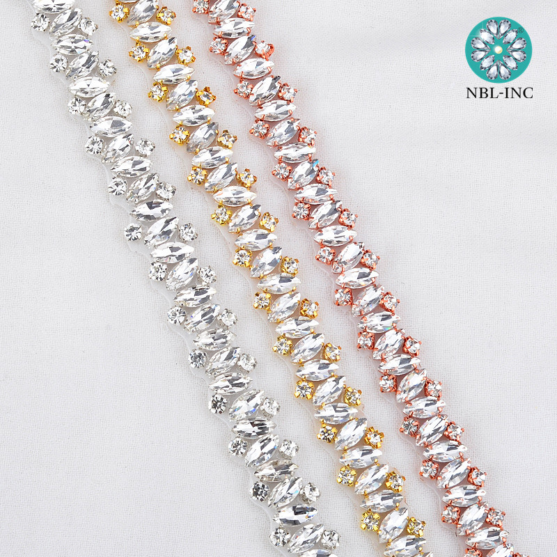 5 yards Wholesale handmade beaded bridal silver crystal rhinestone applique trim iron on for wedding