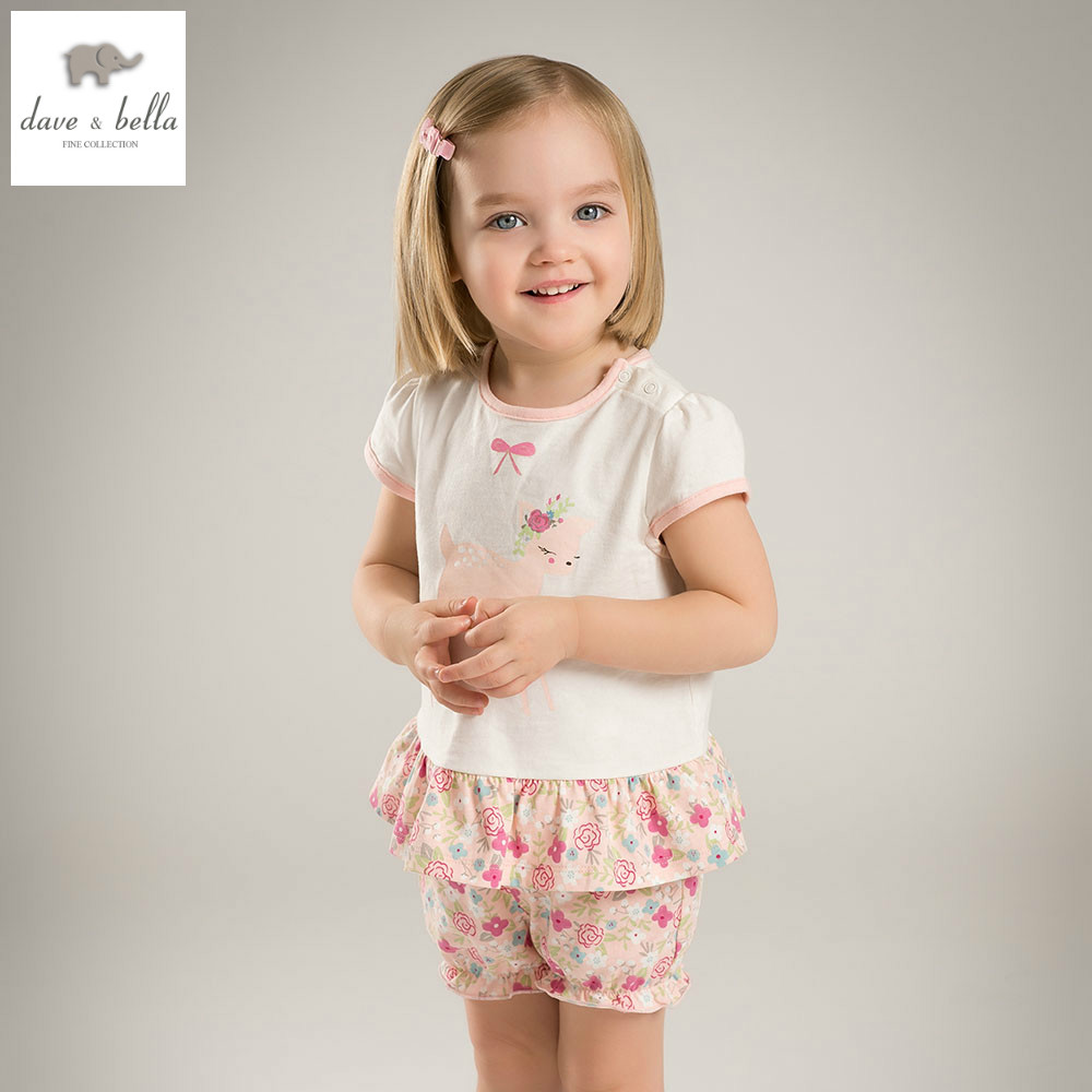 DB5191 dave bella summer baby girls fashion clothing sets kids stylish clothing sets toddle cloth kids sets baby fancy clothes