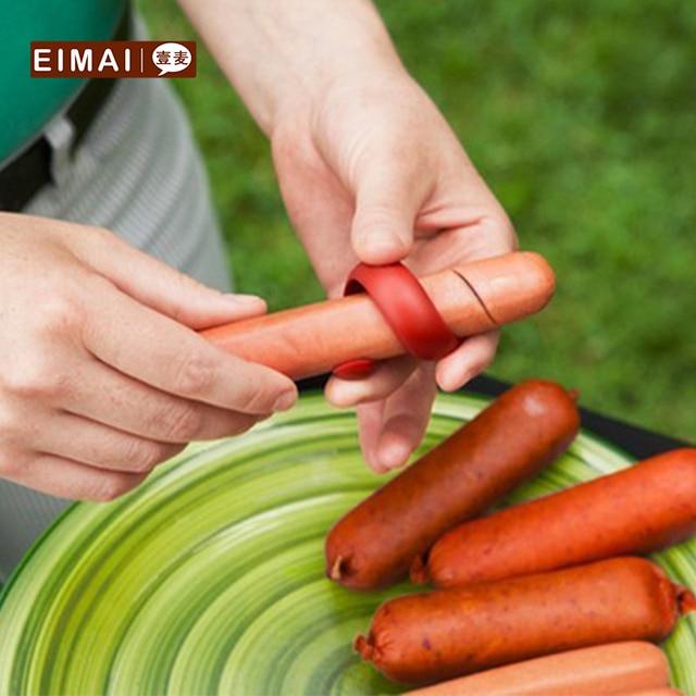 EIMAI Кухня барбекю инструменты барбекю хот-дог ломтик Пластик PP Sausage нож Творческий Пособия по кулинарии инструмент Кухня поставки 2 шт. CC05