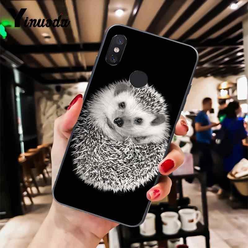 Yinuoda Ouriço bonito em uma xícara de animais livros de arte Caso Telefone para Xiao mi mi mi mi 6 x2 x2S Note3 8 8SE Vermelho mi 5 5 Plus Note4 4X Note5