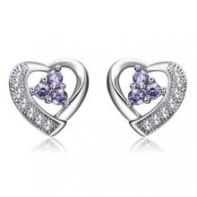 New Hot Fashion Thread-shaped Hollow Imitation Diamonds Purple Crystal Silver Plated Earrings Jewelry, Wholesale Women Gift