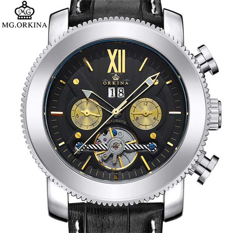 2017 mg orkina fashion men s crystal quartz stopwatches stainless steel wristwatch gift with box free ship ORKINA Fashion Sport Men Automatic Self-Wind Wristwatch Sliver Gold Stainless Steel Case Genuine Leather Band Cool Luxury Watch