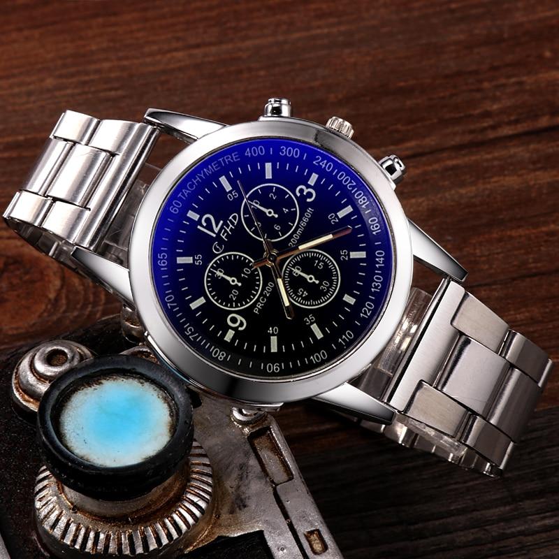 Men Watch Quartz Casual Luxury Full Stainless Steel WristWatch Relogio Masculino Blue Glass Watches Mens Relojes Erkek Kol Saati