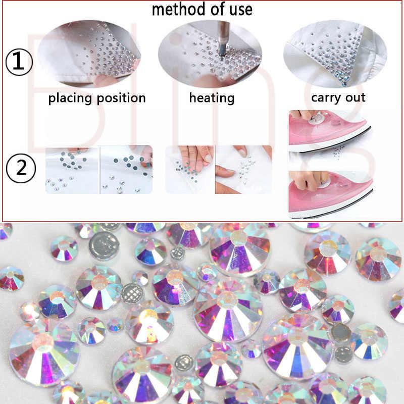 SS6 ~ SS30 Sapphire Cor DMC Fix Natator Hot Crytal Strass solta pérola AAA Grau ferro em vidro para o vestuário decorações de unhas