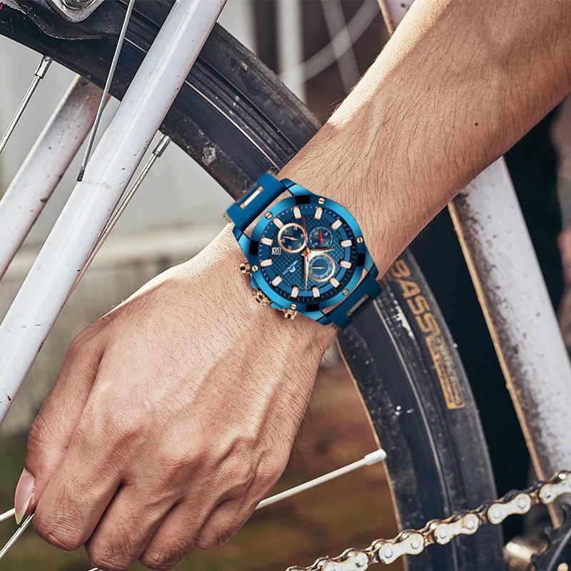 MEGALITH גברים קוורץ ספורט שעון עם עמיד למים אנלוגי הכרונוגרף רצועת גומי צבאי שעונים איש שעון Horloges Mannen