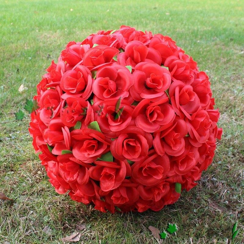 30 см 12 Красный искусственный Шелковый цветок розы целующийся шар 7 цветов для свадьбы рождественские украшения вечерние украшения