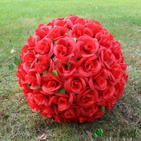 30cm 12 Red Artificial Silk Rose Flower Kissing Ball 7 Colors For Wedding Christmas Ornaments Party Decoration Supplies