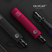 OLYCAT 초경량 자동 우산 비 여자 간단한 색상 들어 갔어 안티 자외선 여행 태양 우산 지우기 파라솔 6K Windproof