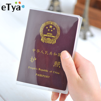 eTya Travel Waterproof Dirt Passport Holder Cover Wallet Transparent PVC ID Card Holders Business Credit Card Holder Case Pouch