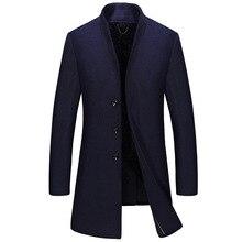 2017 мужские Длинные Шерстяные Пальто Зимнее Утолщение Марка Одежды Большой Размер Шерсть Куртка Мужчины Пальто Бесплатная доставка