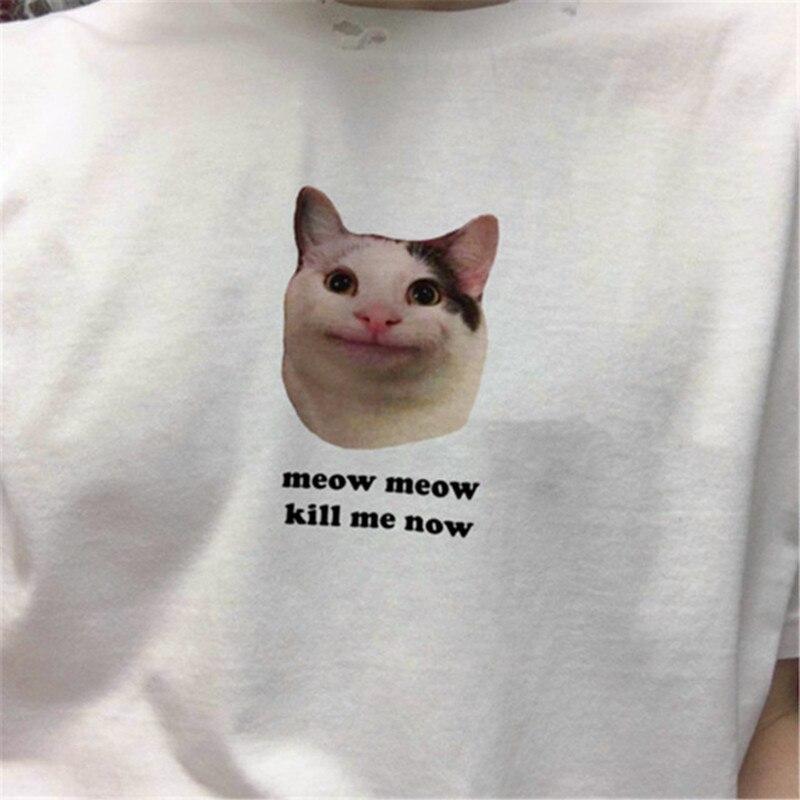 Meow Meow Kill/Love Me Now Summer Short Sleeve Fashion Women Grunge Art Cat   T     Shirt   Aesthetic Tumblr Tee