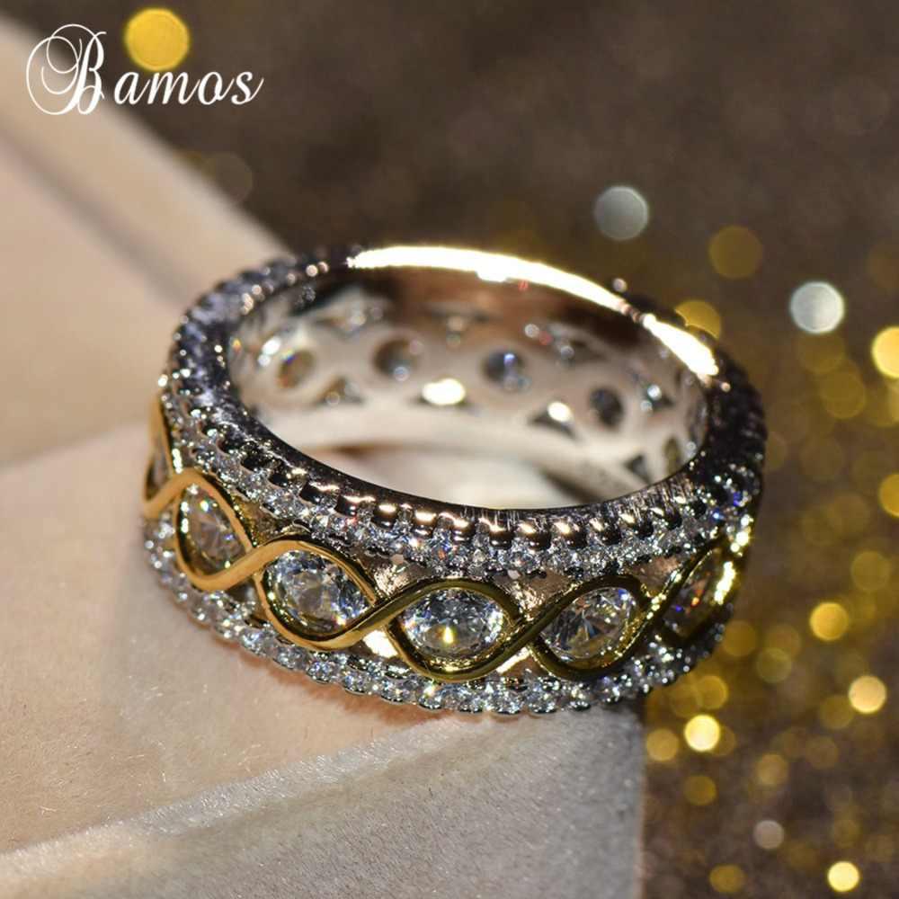 Bamos Exquisite Gold & Silver สีแหวนส่วนบุคคล Infinity แหวนเครื่องประดับหรูหรางานแต่งงานสำหรับสตรี