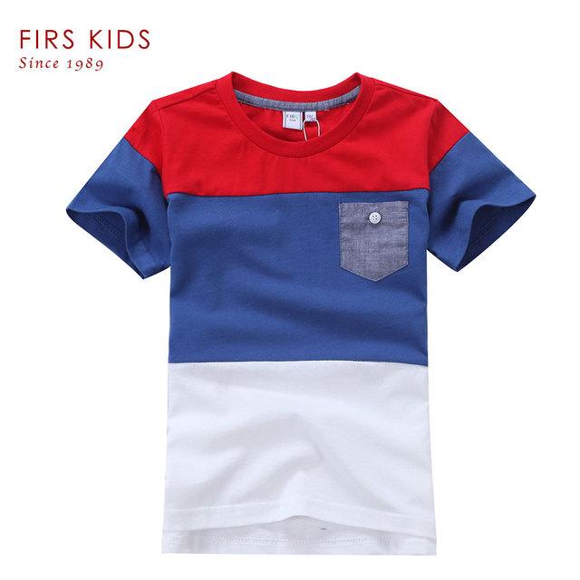 FIRS CRIANÇAS 2016 Verão Nova patchwork Projeto Meninos camiseta Crianças Tops de Manga Curta T-shirt T-shirt 100% Algodão roupas para boys-5