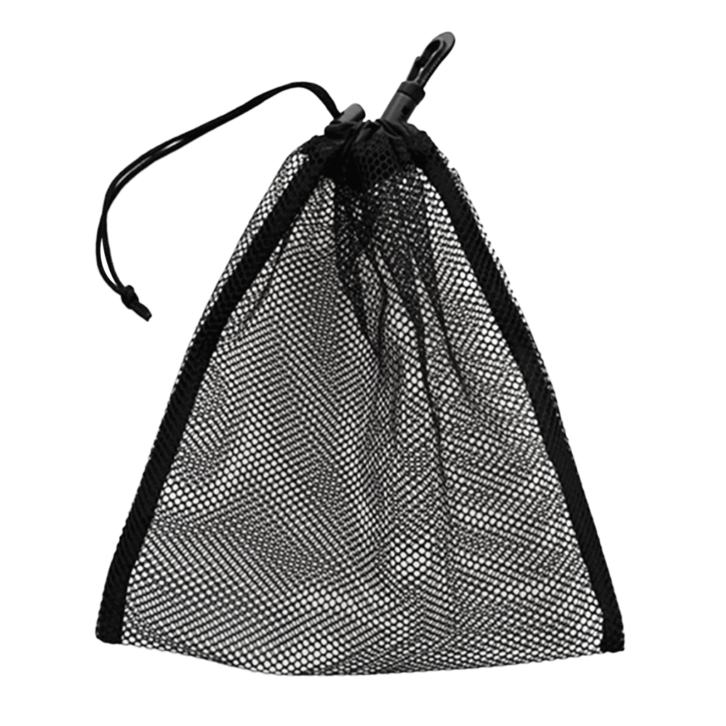 Durable Mesh Nets Bag Pouch Scuba Dive Gear Golf Tennis 30 Balls Carrying Holder Storage Clip On Caddy Pouch 20x24cm Black