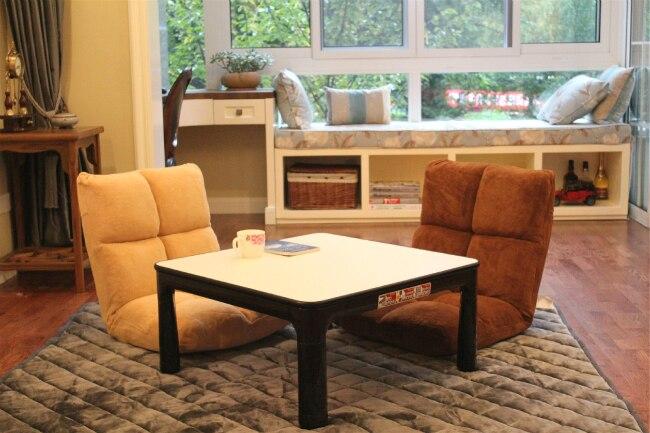 Table pliante Kotatsu pieds carrés 75 cm plateau réversible blanc/noir Table basse décontracté de meubles japonais pour salon Kotatsu