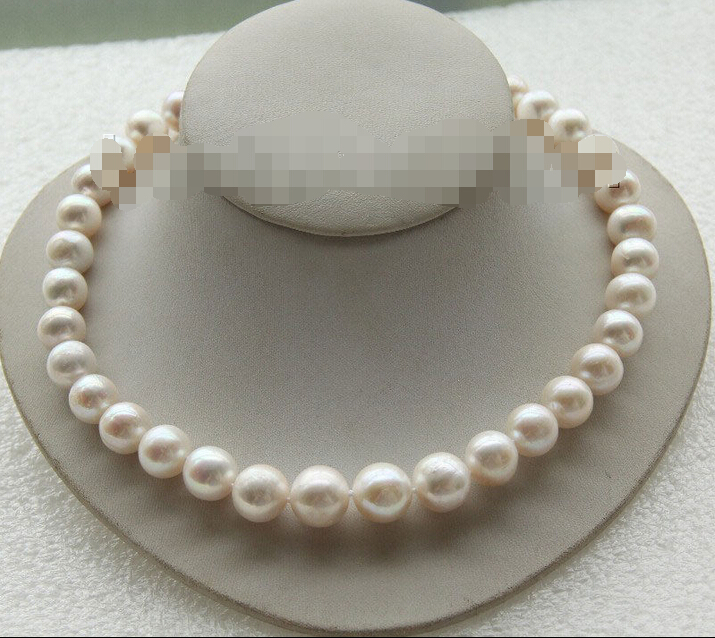 Livraison gratuite > > > > > 14 mm ronde naturelle perles d'eau douce blanches collier rempli fermoir en or j9417