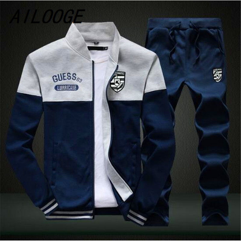 AILOOGE Brand New Men Sets Fashion Autumn Spring Sporting Suit Sweatshirt +Sweatpants Mens Clothing 2 Pieces Sets Slim Tracksuit