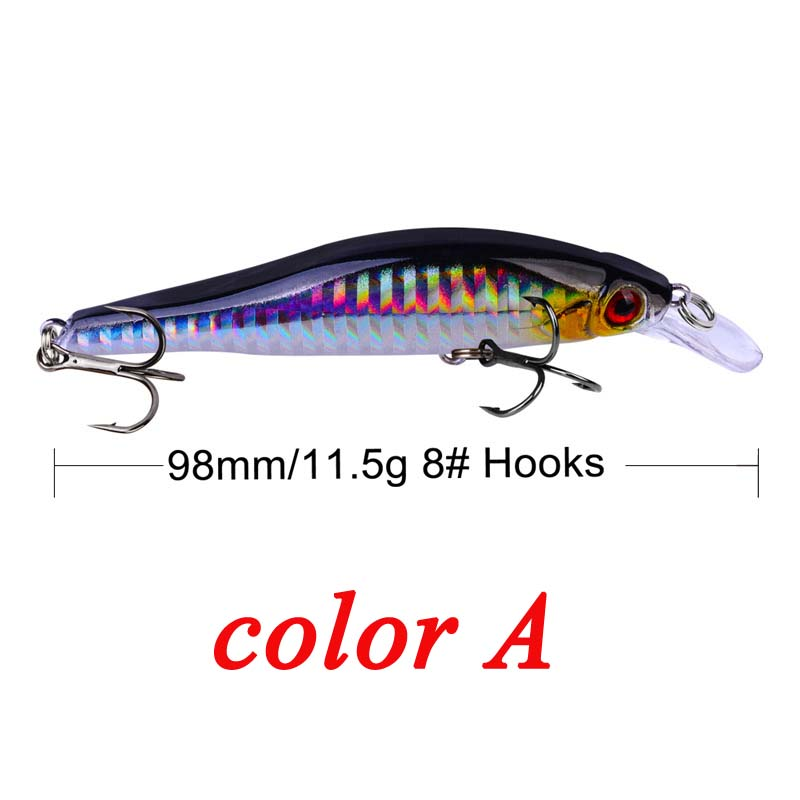 Image 2 - 9.8cm 11.5g Hard Minnow Fishing Lure Topwater Floating Wobblers Crankbait Bass Artificial Baits Pike Carp Lures Peche 30-in Fishing Lures from Sports & Entertainment