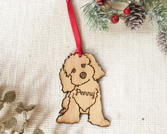 cavapoo mini goldendoodle labradoodle christmas ornament custom pet gift for dog lover pet remembrance